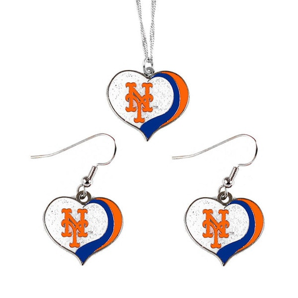MLB New York Mets Sports Team Logo Glitter Heart Necklace and Earring Set Charm Gift