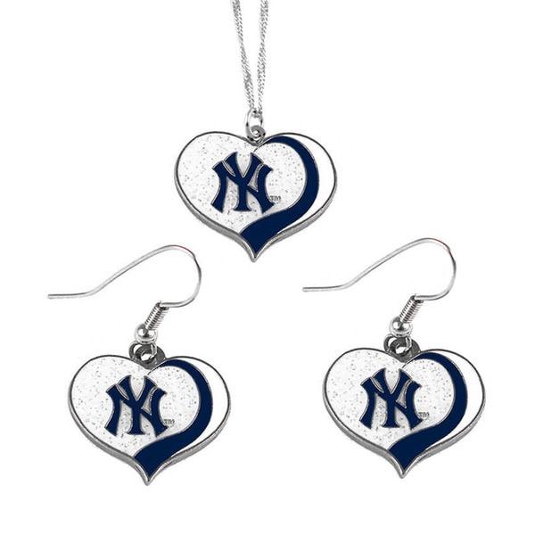 MLB New York Yankees Sports Team Logo Glitter Heart Necklace and Earring Set Charm Gift