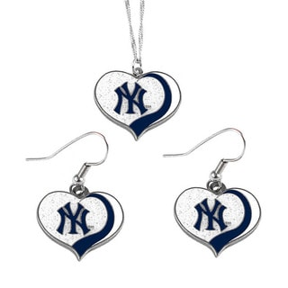 MLB New York Yankees  Sports Team Logo Glitter Heart Necklace and Earring Set Charm Gift