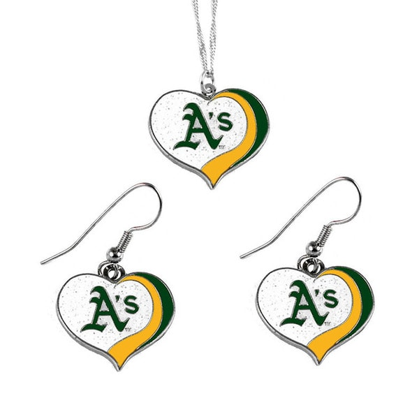 MLB Oakland A's  Sports Team Logo Glitter Heart Necklace and Earring Set Charm Gift
