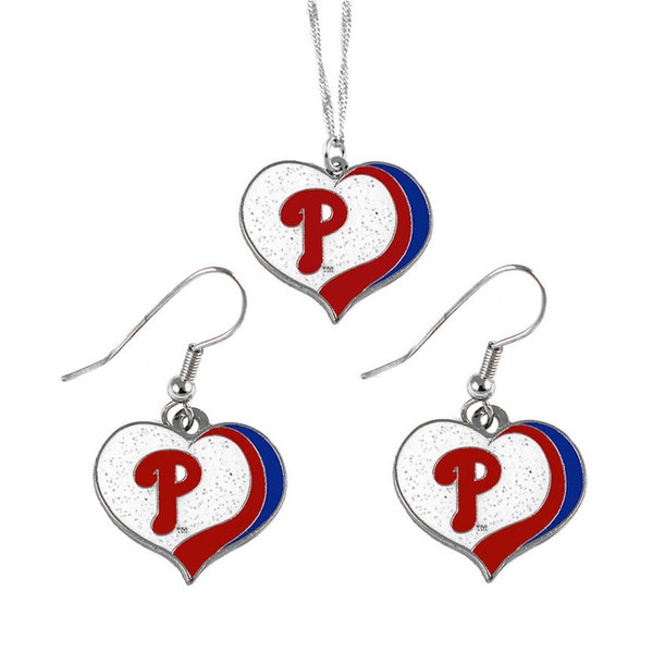MLB Philadelphia Phillies  Sports Team Logo Glitter Heart Necklace and Earring Set Charm Gift