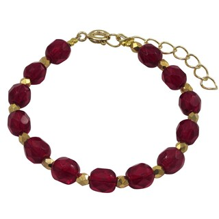 Luxiro Gold Finish Red Stones Beaded Children's Bracelet