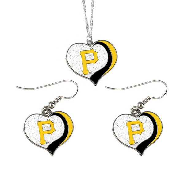 MLB Pittsburgh Pirates  Sports Team Logo Glitter Heart Necklace and Earring Set Charm Gift