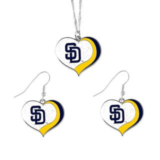 MLB San Diego Padres  Sports Team Logo Glitter Heart Necklace and Earring Set Charm Gift