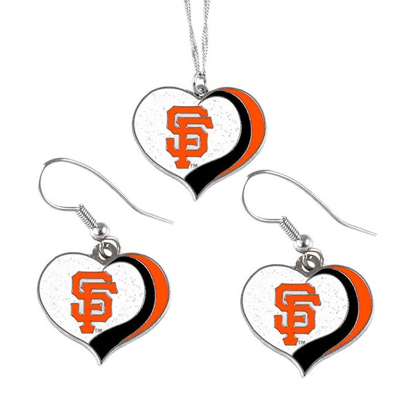 MLB San Francisco Giants Sports Team Logo Glitter Heart Necklace and Earring Set Charm Gift