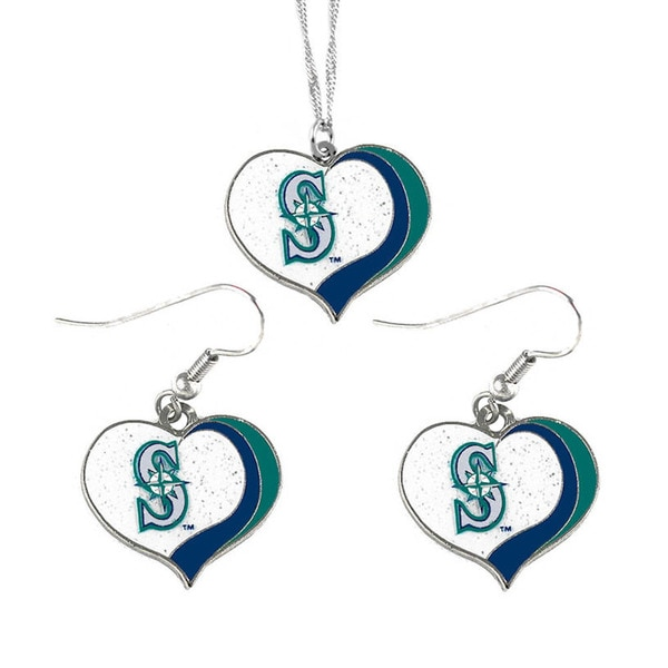 MLB Seattle Mariners  Sports Team Logo Glitter Heart Necklace and Earring Set Charm Gift