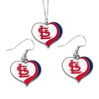 MLB St Louis Cardinals Sports Team Logo Glitter Heart Necklace and Earring Set Charm Gift
