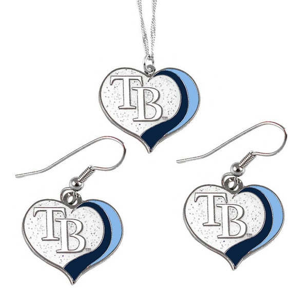 MLB Tampa Bay Rays  Sports Team Logo Glitter Heart Necklace and Earring Set Charm Gift