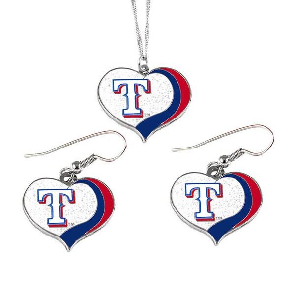 MLB Texas Rangers Sports Team Logo Glitter Heart Necklace and Earring Set Charm Gift