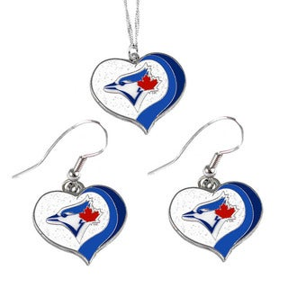 MLB Toronto Blue Jays Sports Team Logo Glitter Heart Necklace and Earring Set Charm Gift