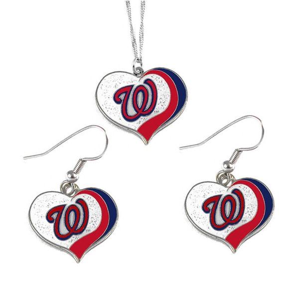 MLB Washington Nationals Sports Team Logo Glitter Heart Necklace and Earring Set Charm Gift