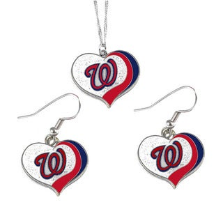 MLB Washington Nationals Sports Team Logo Glitter Heart Necklace and Earring Set Charm Gift