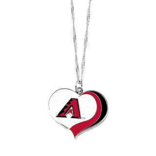 MLB Arizona Diamondbacks Sports Team Logo Glitter Heart Necklace Charm Gift