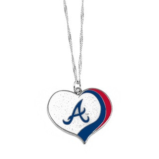 MLB Atlanta Braves Sports Team Logo Glitter Heart Necklace Charm Gift