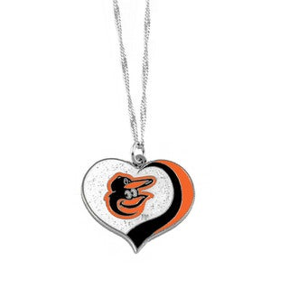 MLB Baltimore Orioles Sports Team Logo Glitter Heart Necklace Charm Gift
