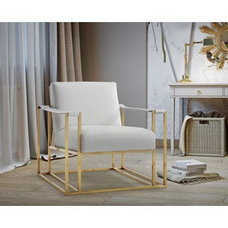 Armen Living Elite Contemporary Accent Chair In White