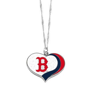 MLB Boston Red Sox Sports Team Logo Glitter Heart Necklace Charm Gift