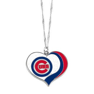 MLB Chicago Cubs Sports Team Logo Glitter Heart Necklace Charm Gift