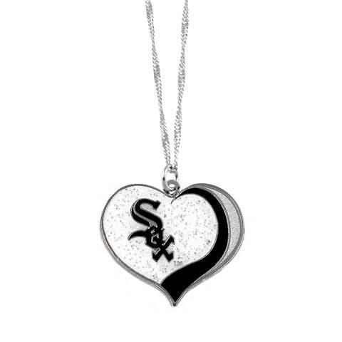 MLB Chicago White Sox Sports Team Logo Glitter Heart Necklace Charm Gift