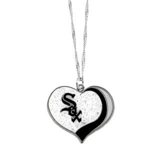 MLB Chicago White Sox Sports Team Logo Glitter Heart Necklace Charm Gift