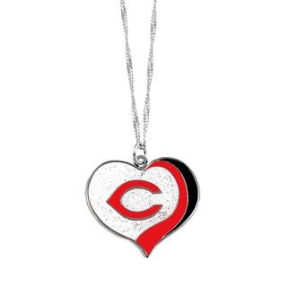 MLB Cincinnati Reds Sports Team Logo Glitter Heart Necklace Charm Gift