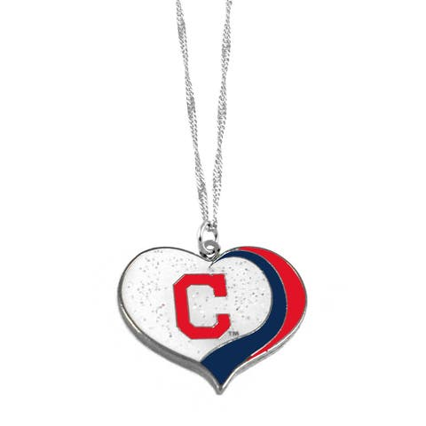 MLB Cleveland Indians Sports Team Logo Glitter Heart Necklace Charm Gift