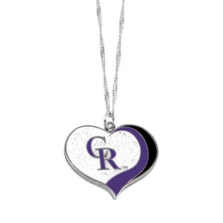 MLB Colorado Rockies Sports Team Logo Glitter Heart Necklace Charm Gift