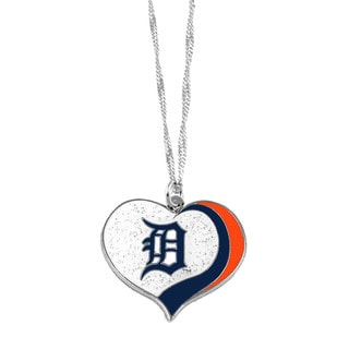 MLB Detroit Tigers Sports Team Logo Glitter Heart Necklace Charm Gift