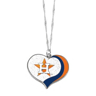 MLB Houston Astros Sports Team Logo Glitter Heart Necklace Charm Gift