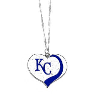 MLB Kansas City Royals Sports Team Logo Glitter Heart Necklace Charm Gift