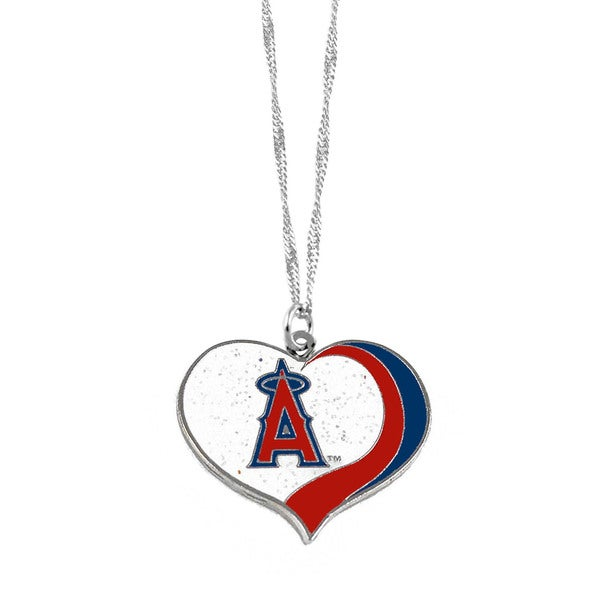 MLB Los Angeles Angels Sports Team Logo Glitter Heart Necklace Charm Gift