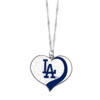 MLB Los Angeles Dodgers Sports Team Logo Glitter Heart Necklace Charm Gift