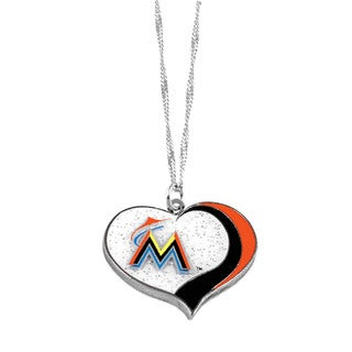 MLB Miami Marlins Sports Team Logo Glitter Heart Necklace Charm Gift