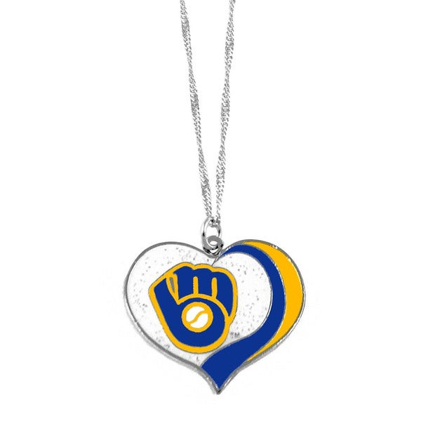 MLB Milwaukee Brewers Sports Team Logo Glitter Heart Necklace Charm Gift