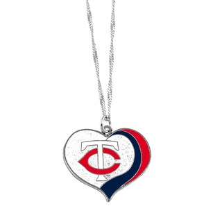 MLB Minnesota Twins Sports Team Logo Glitter Heart Necklace Charm Gift