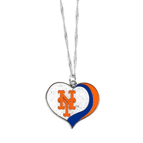 MLB New York Mets Sports Team Logo Glitter Heart Necklace Charm Gift