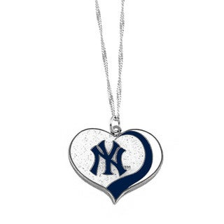 MLB New York Yankees Sports Team Logo Glitter Heart Necklace Charm Gift