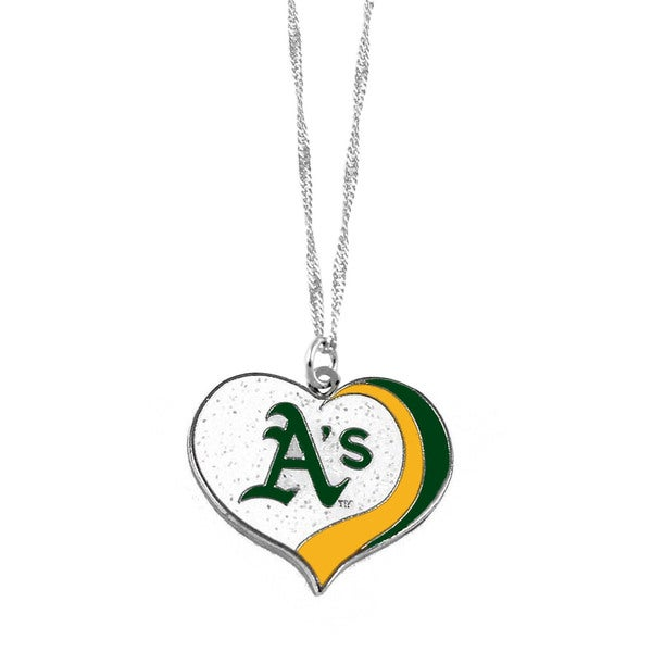 MLB Oakland A's Athletics Sports Team Logo Glitter Heart Necklace Charm Gift