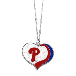 MLB Philadelphia Phillies Sports Team Logo Glitter Heart Necklace Charm Gift