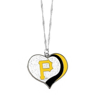 MLB Pittsburgh Pirates Sports Team Logo Glitter Heart Necklace Charm Gift