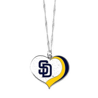 MLB San Diego Padres Sports Team Logo Glitter Heart Necklace Charm Gift
