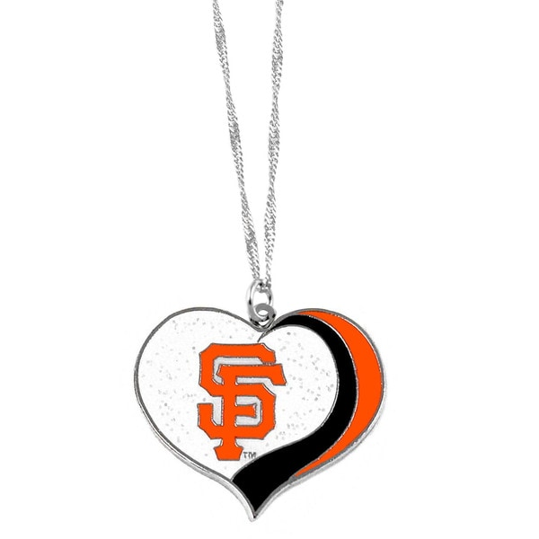 MLB San Francisco Giants Sports Team Logo Glitter Heart Necklace Charm Gift