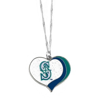 MLB Seattle Mariners Sports Team Logo Glitter Heart Necklace Charm Gift