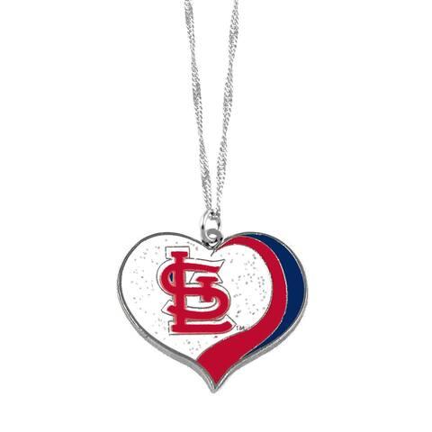 MLB St Louis Cardinals Sports Team Logo Glitter Heart Necklace Charm Gift