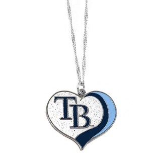 MLB Tampa Bay Rays Sports Team Logo Glitter Heart Necklace Charm Gift