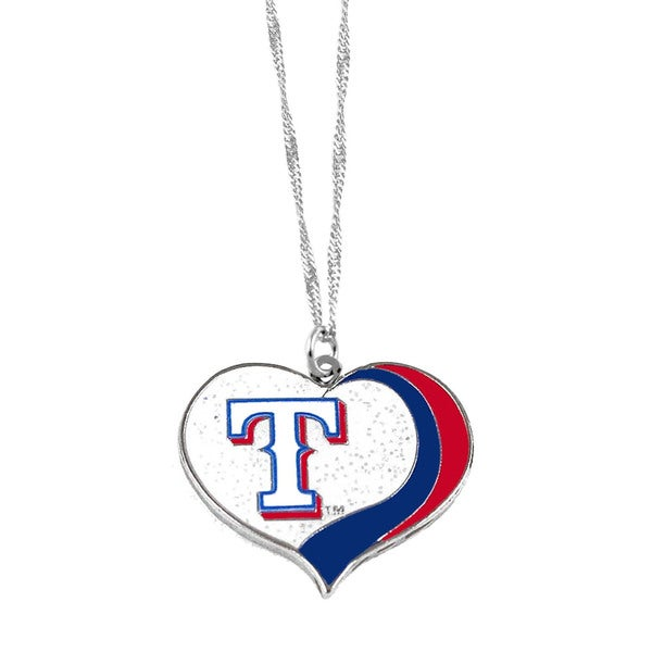 MLB Texas Rangers Sports Team Logo Glitter Heart Necklace Charm Gift