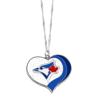 MLB Toronto Blue Jays Sports Team Logo Glitter Heart Necklace Charm Gift