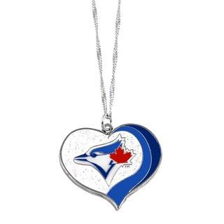 MLB Toronto Blue Jays Sports Team Logo Glitter Heart Necklace Charm Gift