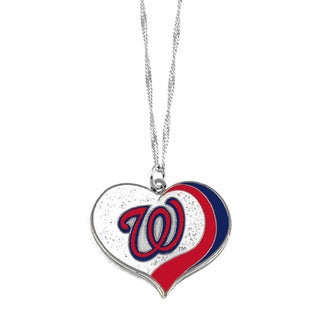 MLB Washington Nationals Sports Team Logo Glitter Heart Necklace Charm Gift