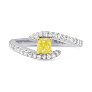 Fancy Intense Yellow Cushion Diamond Cross-over Ring, SKU 86614 (0.67Ct TW)